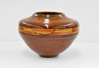 "Photo: David Jacobowitz - Segmented Hollow Vessel - 5 1/2"" x 7 1/2"" - Leopardwood, Satine, Ziricote, Marblewood, Black & White Veneers"
