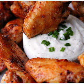 Grilled Honey Sriracha Wings with Herbed Yogurt Dip.