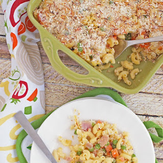Gluten Free Mac & Cheese Casserole with Peas, Carrots & Ham.