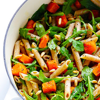 5-Ingredient Butternut Squash, Arugula and Goat Cheese Pasta.