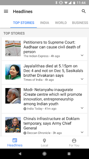 Screenshot 1 for Google News's Android app'