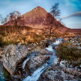 Etive Mor Waterfall by Ceri Jones - Landscapes Mountains & Hills ( highlands, glen coe, waterfall, cascade, etive mor, water, scottish, flow, scotland )