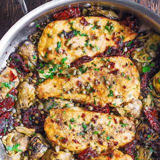 Mediterranean Chicken with Sun-Dried Tomatoes and Artichokes.