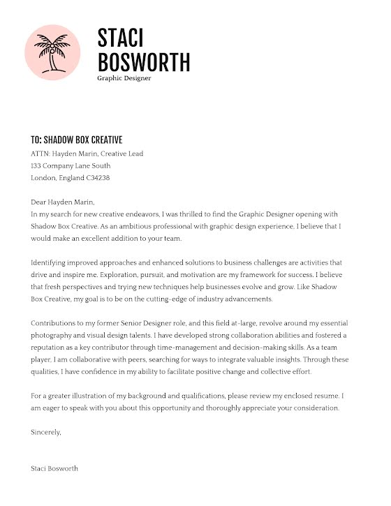 Staci Bosworth - Cover Letter Template