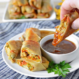 Baked Pork and Napa Cabbage Egg Rolls.