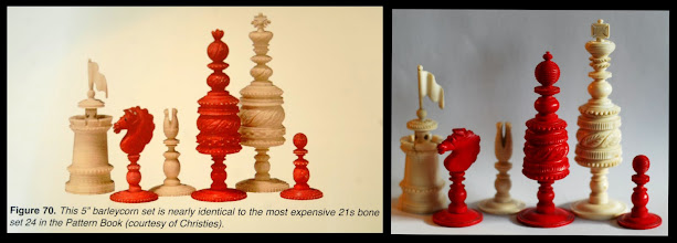 Photo: Comparison of CH404 with an image in Fersht of a set auctioned at Christies.   Whilst there are again differences, the two are so 'nearly identical' to each other and to the No.24 pattern book images that Jaques provenance is all but assured.