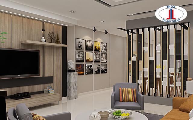 mẫu tủ ngăn phòng khách và bếp