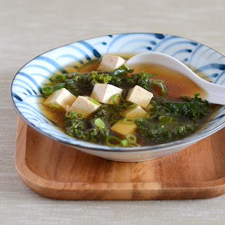 Miso Soup with Tofu and Kale.