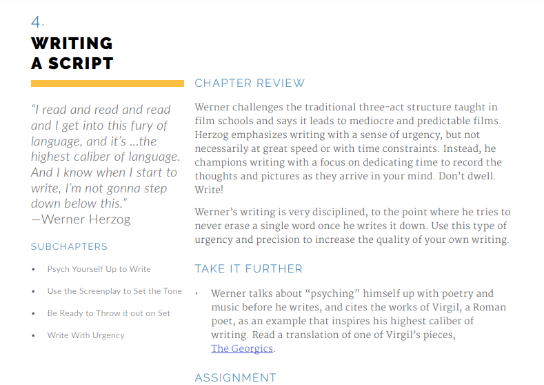 Werner Herzog Masterclass Review: Writing A Script