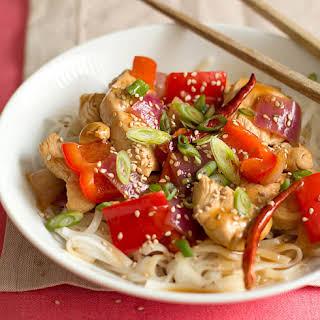 Orange Chicken Stir-Fry with Rice Noodles.