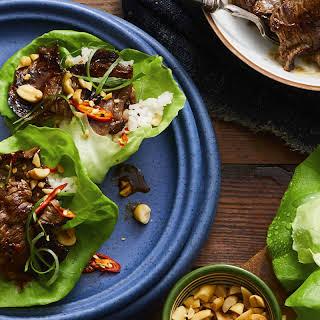 Korean Pineapple Beef Lettuce Wraps.