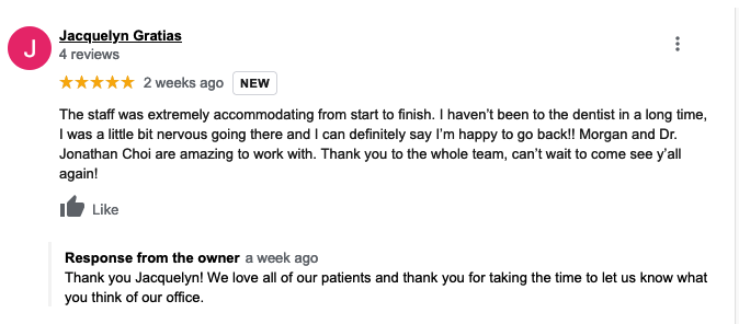Example of positive dentist review
