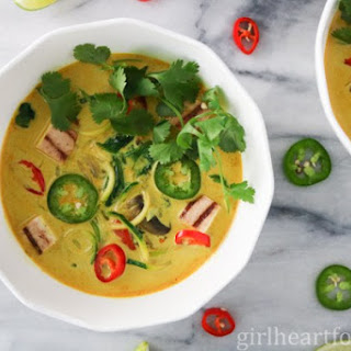 Zucchini Noodle Curry Coconut Soup with Grilled Tofu.