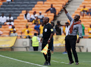 Kaizer Chiefs head coach Steve Komphela reacts on the touchline during the 2018 Nedbank Cup Last 32 match against Lamontville Golden Arrows at FNB Stadium, Johannesburg South Africa on 11 February 2018.