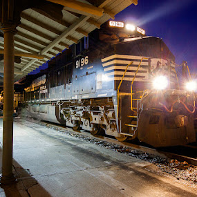 NS 9196 by Greg Booher - Transportation Trains ( train station, norfolk southern, locomotive, train, night )