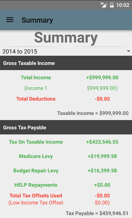 Aussie Tax Calculator Free- screenshot