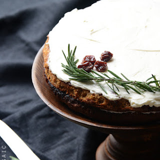 Gluten-Free Cherry Almond Cake with Rosemary Vanilla Bean Buttercream.