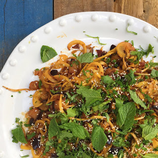 Gochujang Rutabaga Noodles with Garlic Eggplant and Torn Mint