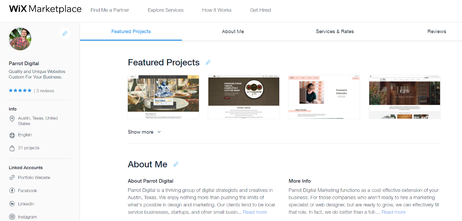 wix marketplace profile for parrot digital marketing