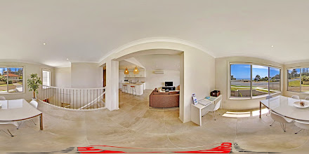 Photo: Beach House 1 - Upstairs Kitchen/Living Room/Dining/Desk  www.escapeatnobbys.com.au