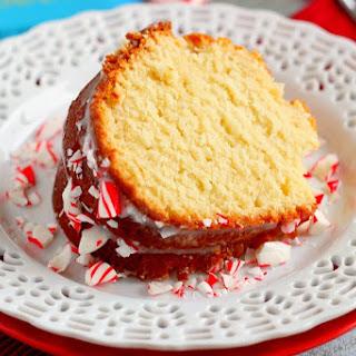 Vanilla Pound Cake with Peppermint Glaze
