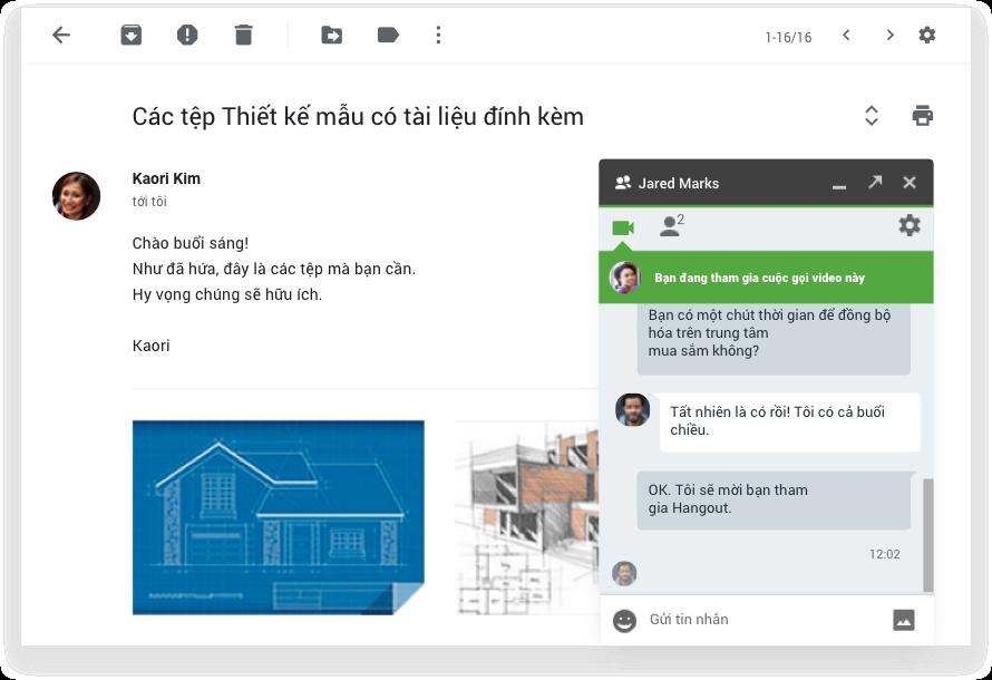 Cải tiến các cuộc hội thoại email bằng tính năng trò chuyện và video
