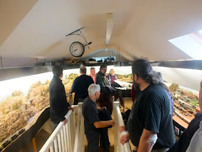 Photo: 005 As the event was only some 200 yards from Brian Guilmant's home, an added attraction was guided tours of his superb and impressive 31ft x 15ft Imperial Western Railway in his loft and as reported in 009 News December 2015 issue .