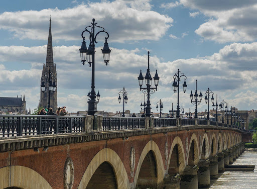 Ponant-France-Bordeaux-bridge.jpg - Stroll the Pont de Pierre in Bordeaux, France, on your next Ponant cruise.