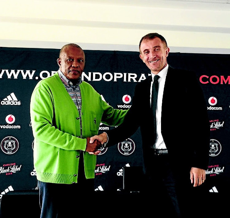 Orlando Pirates coach Milutin Sredejovic and Irvin Khoza. The wheels appear to have come off for the Buccaneers following a relatively good start to their season and even against an Arrows side they have dominated over the years, they couldn't get a win.