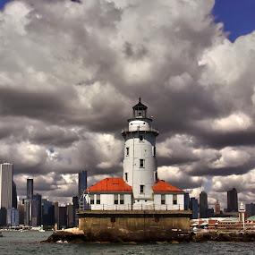 Navy Pier  by John CHIMON - City,  Street & Park  Skylines ( clouds, illinois, sunny, lighthouse, weather, pier, chicago, day, navy, light, sun, formation )