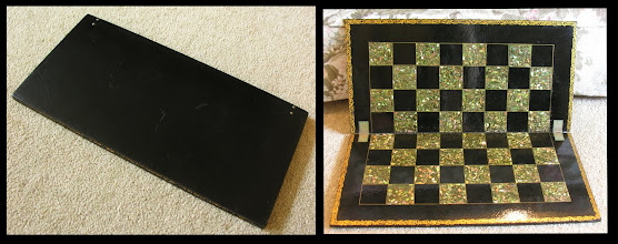 Photo: CH359  Black 'Japanned' Papier-mâché board with 1.55in Mother-of-Pearl inlaid squares  The material is essentially paper, sometimes reinforced, and bound with a glue. For most of us, it is probably remembered from early school-days, but it was known in ancient Egypt.  In 1847 an Englishman patented a process for steaming and pressing panels of the material for use in an extremely wide range of items.  This board is probably from the latter era - sometime in the 2nd half of the C19th. The MOP inlay in the white squares makes it very difficult to get good photos!