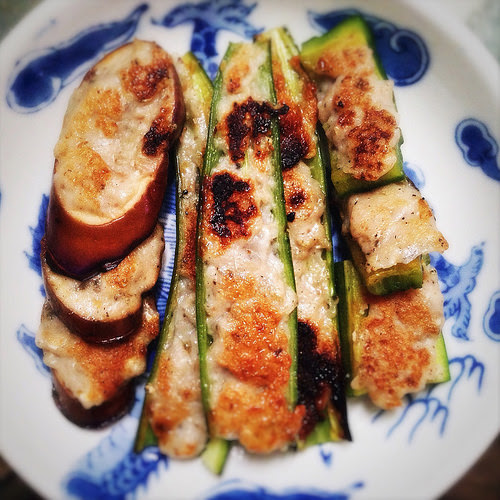 bitter melon, Dace paste, stuffed, stuffed eggplant, fried, eggplant, Fish Paste, long chili, recipe, shunde, street snack, Three Fried Stuffed Treasures, three treasures, 尖椒, 煎釀三寶, 苦瓜, 茄子,
