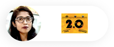 A profile image of a woman named Abida with the 2.0 cafe restaurant logo next to her.