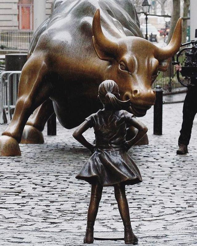 Image result for girl wall st bull