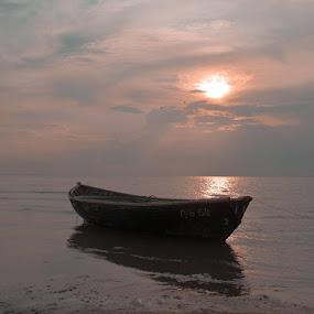 A scow by Владимир Агруц - Transportation Boats ( sunset, sea, seascape, boat )
