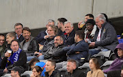 Newly appointed Cape Town City coach Jan Olde Riekerink sits alongside club owner John Comitis during the Absa Premiership 2019/20 game between Cape Town City and Polokwane City at Cape Town Stadium on 6 November 2019.
