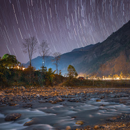 Nepal camping by Christopher Pearce - Landscapes Mountains & Hills ( stars, long exposure, water )