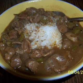 David's Gizzards And Gravy Over Rice.