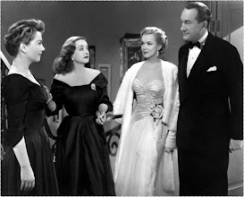 """Photo: The 1950 film """"All about Eve"""" received a record 14 Academy Award nominations, breaking the previous record of 13 nominations held by """"Gone with the Wind"""" since 1939.  Shown here in a scene still from the film are (left to right): Anne Baxter, Bette Davis, Marilyn Monroe and George Sanders."""
