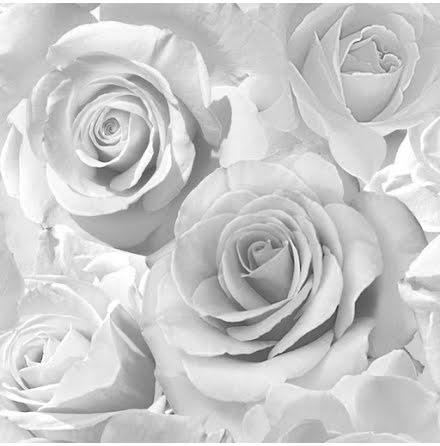 Tapet med rosor i silver Madison Muriva 139520