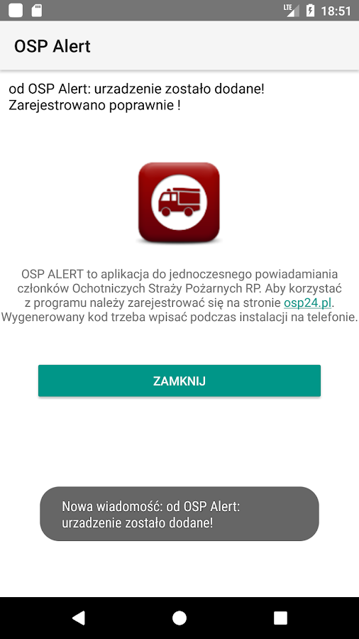 OSP Alert- screenshot
