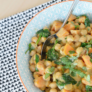 Thai Green Chickpea, Sweet Potato and Spinach Curry.