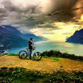 The rider. by Mattia Bonavida - Landscapes Mountains & Hills ( adventure, bonavida, garda, mattia, sport, lake, landscape, nikon )