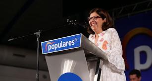 Rosa María Cano, durante un mitín de esta campaña electoral.