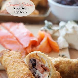 Smoked Salmon Black Bean Egg Rolls.