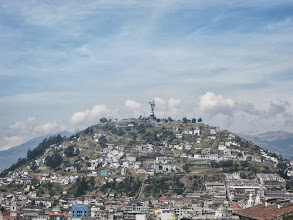 "Photo: Panecillo (""little bread"") hill topped by the winged Virgen de Quito"