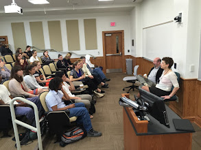Photo: Professors Oreskes and Mann doing a student Q&A session