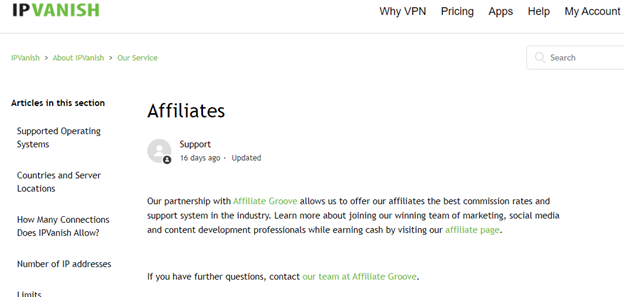 IPVanish affiliate marketing program