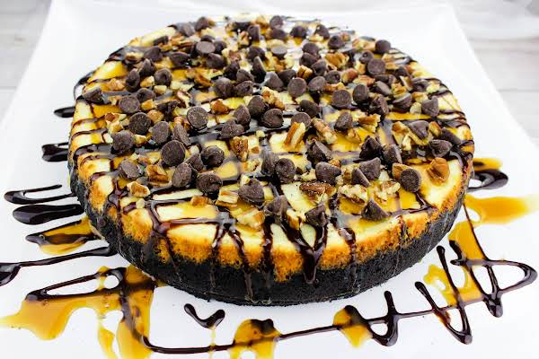 Laurel's Turtle Cheesecake On A Serving Tray.