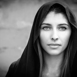 Lutka 7 by Samir Zahirovic - Black & White Portraits & People ( #eyes, #hot, #lips, #beauty, #woman, #face, #sexy, #scarf, #girl, #blackandwhite )